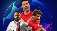 Liga Champions - Ilustrasi Pemain Neymar, Thomas Muller, Robert Lewandowski (Bola.com/Adreanus Titus)