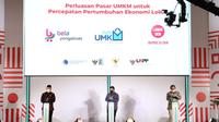 Menteri BUMN Erick Thohir (kanan), Menkop UKM Teten Masduki (kiri), Kepala LKPP Roni Dwi Susanto (kanan) saat meresmikan Pasar Digital (PaDi) UMKM di Jakarta, beberapa waktu yang lalu.