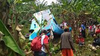 Bus Wisata Terjun ke Jurang di Sukabumi, Belasan orang Meninggal. (Liputan6.com/Mulvi Mohammad)