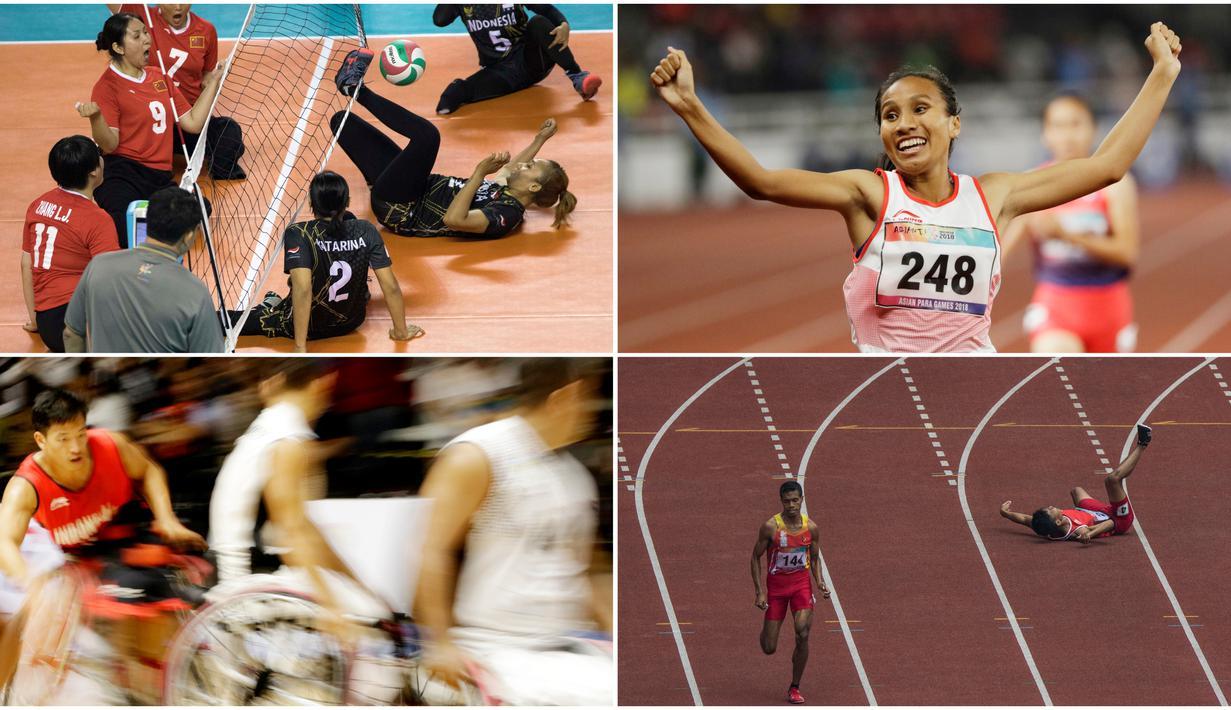 Momen Pilihan Asian Para Games 2018 Hari ke-5 diwarnai dengan tersangkutnya kaki pevoli duduk Indonesia. Ada juga beragam momen medali emas dari cabang atletik. (Tim Bola.com)