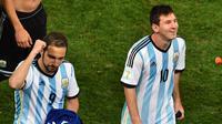 Gonzalo Higuain dan Lionel Messi (GABRIEL BOUYS / AFP)