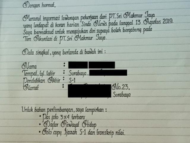 Kelewat Rapi Tulisan Tangan Di Surat Lamaran Kerja Ini Viral Citizen6 Liputan6 Com
