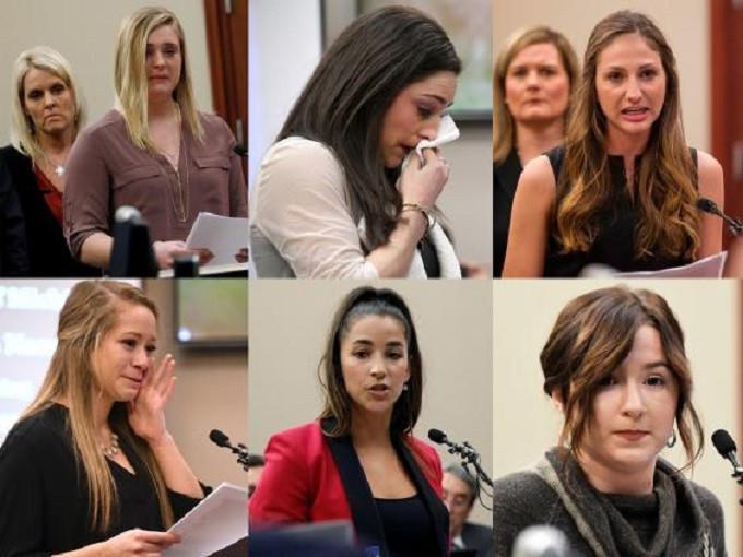 Maddie Johnson, Jordyn Wieber, Kyle Stephens, Emily Morales, Aly Raisman and Bailey Lorencen saat membacakan laporan pelecehan sang dokter. (AP/AFP)