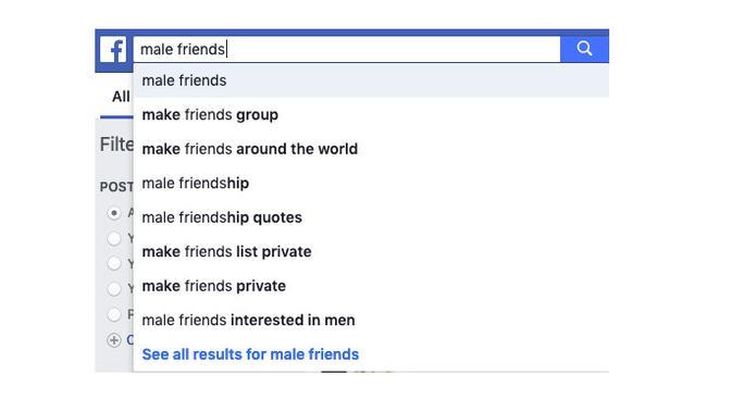 Hasil pencarian di Facebook untuk male friends (Foto: Mashable)