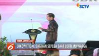 Presiden Joko Widodo menghentikan dulu kebiasaannya membagikan sepeda ketika bertemu dengan warga.