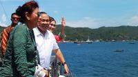 Menteri Kelautan dan Perikanan Susi Pudjiastuti menyambangi Pelabuhan Samudera, Bitung, Sulawesi Utara. (Liputan6.com/Yoseph Ikanubun)