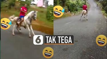 Kuda putih itu terlihat mengerem menggunakan dua kaki belakangnya.