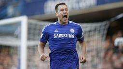 John Terry (41 gol) - Pemain Legendaris Chelsea ini menjadi bek kedua yang paling banyak mencetak gol. Selama bermain di Premier League, Terry telah menghasilkan 41 gol. (AFP/Adrian Dennis)