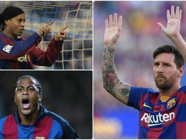 Barcelona tercatat memiliki penyerang-penyerang hebat di lapangan hijau. Diantaranya adalah Lionel Messi, pemain asal Argentina ini banyak memberikan beragam trofi juara untuk Barcelona. Berikut Lionel Messi dan 5 penyerang legendaris Barcelona. (kolase foto AFP)
