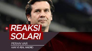 Berita video komentar reaksi Pelatih Real Madrid, Santiago Solari, soal kemenangan timnya yang juga berkat peran VAR (Video Assistant Referee) dalam laga melawan Ajax pada leg I 16 Besar Liga Champions 2018-2019, Rabu (13/2/2019).