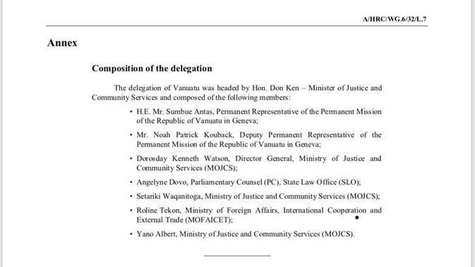 Salinan daftar nama delegasi Vanuatu yang terakreditasi resmi oleh Dewan HAM PBB dalam pertemuan UPR di Jenewa pada 25 Januari 2019 (kredit: Watap RI untuk PBB di Jenewa, Duta Besar Hasan Kleib)