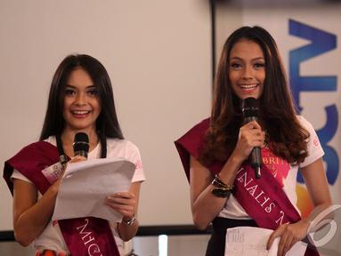 Para Finalis Micel 2014 asyik mengikuti kelas Presenting, Jakarta, Rabu (22/10/2014) (Liputan6.com/Faisal R Syam)