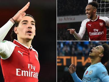 Berikut ini lima pesepak bola dengan lari tercepat versi konsol game FIFA 18. Posisi teratas ditempati striker anyar Arsenal, Pierre-Emerick Aubameyang dengan kecepatan 96 dari rasio 100. (Kolase foto-foto dari AFP)