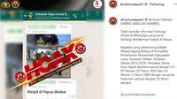 Hoaks Masjid Dibakar di Papua. (Instagram @divisihumaspolri)