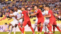 Timnas Malaysia saat uji coba melawan Kirgizstan di Stadion Hang Jebat, Melaka (17/10/2018), sebagai persiapan Piala AFF 2018. (Bola.com/Dok. FA Malaysia)