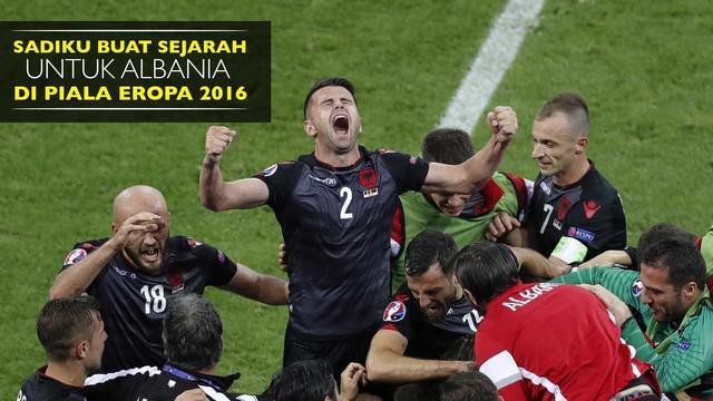 Armando Sadiku berhasil membuat sejarah untuk Albania dengan mencetak gol dan meraih kemenangan perdana di Piala Eropa 2016