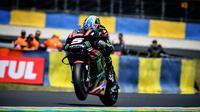 Pembalap Yamaha Tech 3, Johann Zarco beraksi pada MotoGP Jerman 2018 di Sirkuit Sachsenring. (Twitter/Tech3Racing)