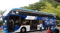 Bus berkapasitas 60 orang itu akan digunakan untuk bus wisata dan mendukung program Enjoy Jakarta. (Liputan6.com/Delvira)
