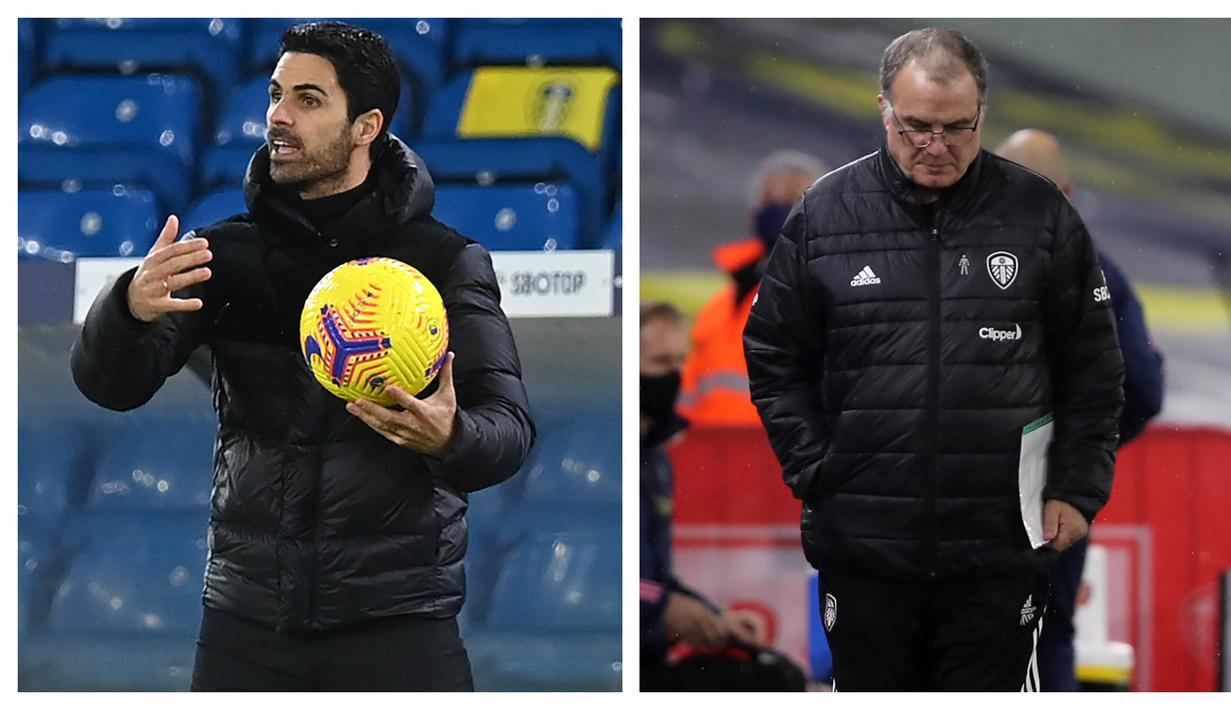Pertemuan dua pelatih, Marcelo Bielsa di kubu Leeds United dan Mikel Arteta di Arsenal tersaji dalam laga lanjutan Liga Inggris pekan ke-9 di Elland Road Stadium, Minggu (22/11/2020) lalu. Beragam ekspresi mereka tunjukkan dalam laga yang berkesudahan 0-0. (Kolase Foto AFP)
