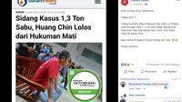 [Cek Fakta] Penyelundup Sabu 1 Ton Tak Divonis Mati Karena WN Cina?