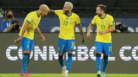 Tim Selecao sementara kokoh di puncak klasemen Grup B. Neymar dan kawan-kawan selanjutnya akan menghadapi Kolombia pada hari Kamis, 24 Juni 2021. (AP/Silvia Izquierdo)