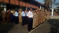 Deretan pejabat pemda Garut saat apel gabungan (Liputan6.com/Jayadi Supriadin)