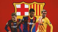 Barcelona - Frenkie De Jong, Pedri, Antoine Griezmann (Bola.com/Adreanus Titus)