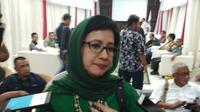 Politikus Partai Golkar Nurul Arifin tampak sumringah di kantor DPP PKB di Raden Saleh, Jakarta Pusat