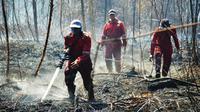Personel BBKSDA Riau memadamkan kebakaran lahan di Suaka Margasatwa Giam Siak Kecil. (Liputan6.com/Dok BBKSDA Riau)