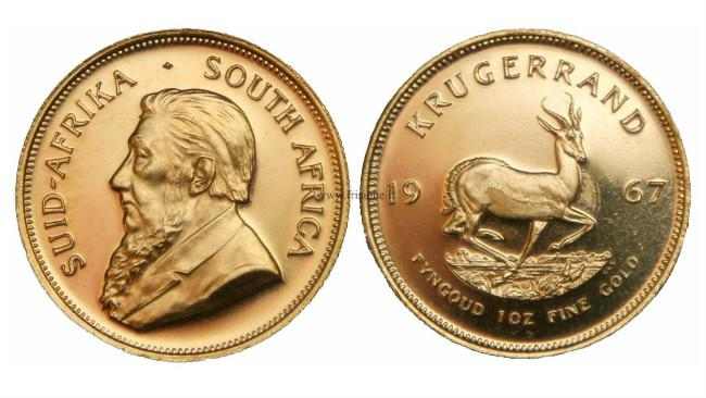 Ilustrasi krugerrand Afrika Selatan. (Sumber Wikimedia Commons)