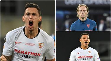Sevilla akan menghadapi tim tangguh Bayern Munchen pada pertandingan Piala Super Eropa 2020 di Puskas Arena. Juara Liga Europa ini memiliki sejumlah pemain yang bisa berbahaya bagi Bayern Munchen. Berikut 5 pemain Sevilla yang jadi ancaman bagi Bayern Munchen. (kolase foto AFP)