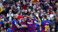 Penggawa Barcelona merayakan gol Luis Suarez ke gawang Deportivo Alaves. Barcelona menang telak 4-1. (Dok. Twitter/FCBarcelona)