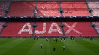 Para pemain Tottenham Hotspur mengambil bagian dalam sesi latihan di Amsterdam, Belanda  (7/5/2019). Tottenham akan bertanding melawan Ajax Amsterdam pada leg kedua babak semifinal Liga Champions di Johan Cruijff Arena. (AFP Photo/Emmanuel Dunand)