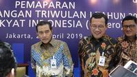 Dirut Bank BRI, Suprajarto usai pemaparan kinerja BRI Triwulan I 2019, di kantor pusat Bank BRI, Rabu (24/4/2019).