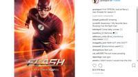 Postingan Grant Gustin tentang kostum baru The Flash (Instagram/grantgust)