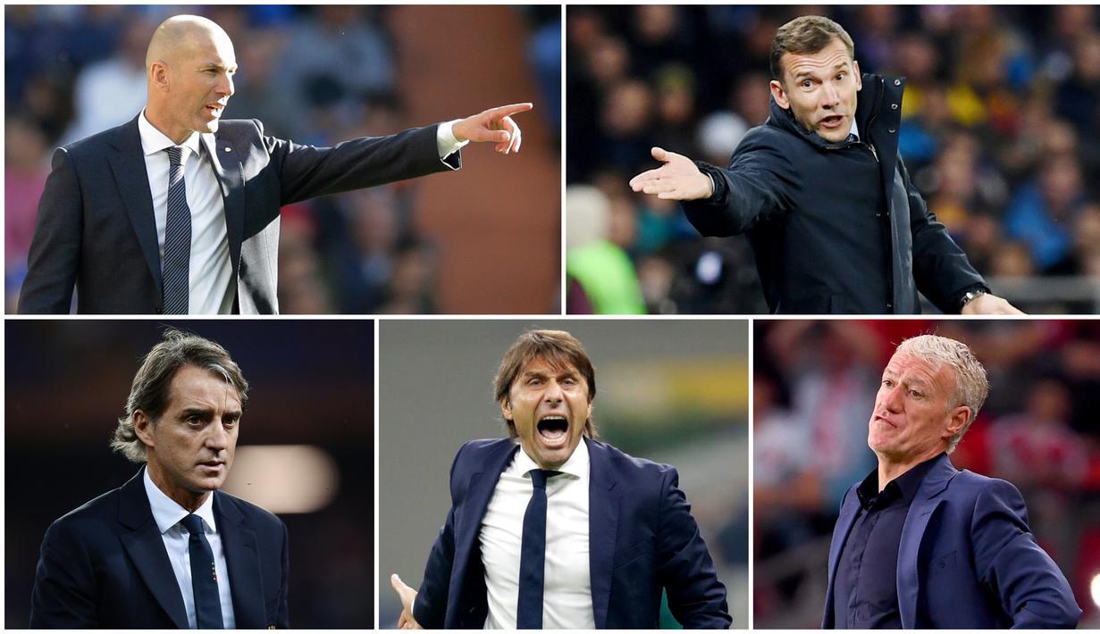 Berikut ini daftar mantan pemain Serie A yang sukses sebagai Pelatih. Diantaranya Antonio Conte, Zinedine Zidane dan Andriy Shevchenko. (Foto Kolase AP dan AFP)