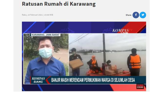 Cek Fakta Liputan6.com menelusuri klaim tidak ada stasiun Tv yang memberitakan banjir Jawa Barat