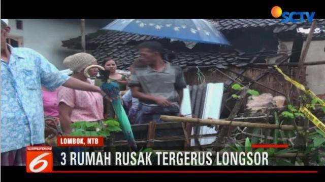 Tingginya curah hujan yang mengguyur pulau Lombok sejak Rabu, mengakibatkan banjir dan longsor.