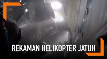 Salah seorang penumpang merekam detik-detik helikopter jatuh di Kirgistan. Kecelakaan itu terjadi pada 9 Juli 2018.
