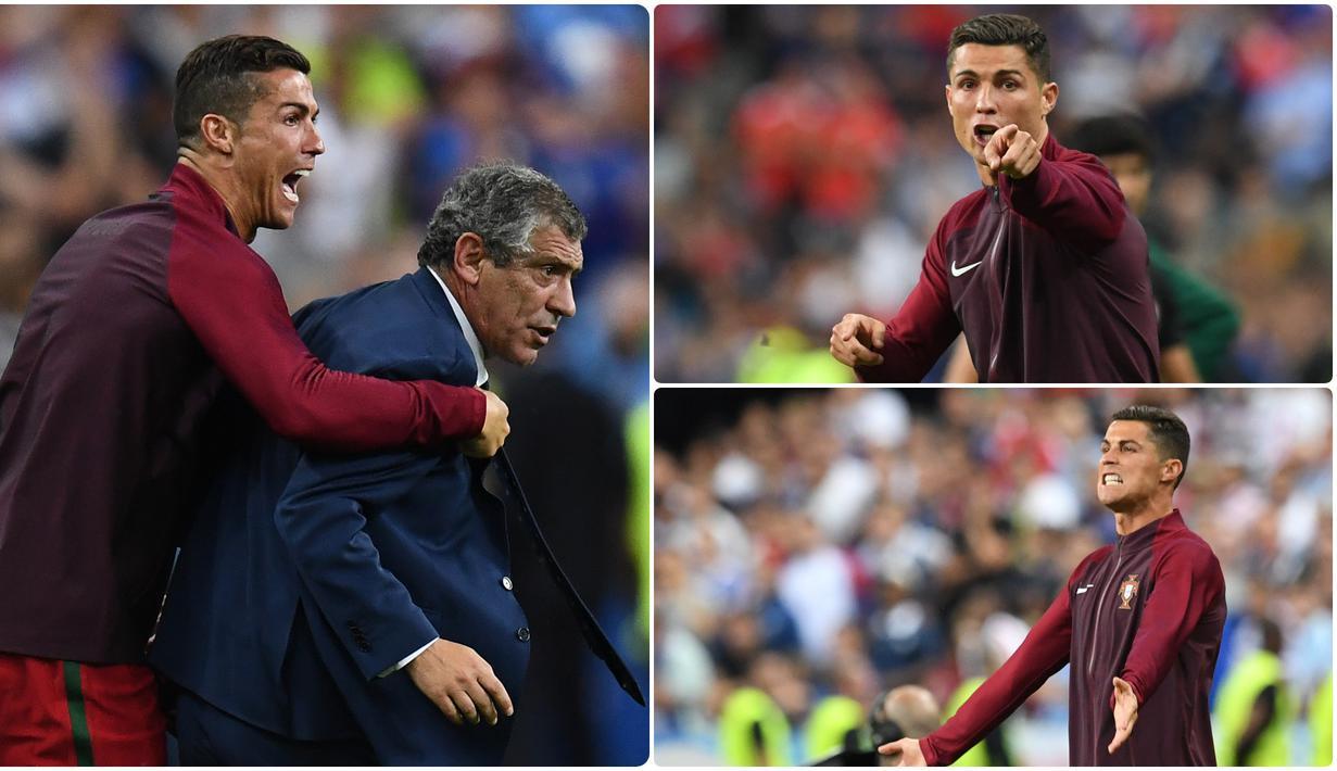 Cristiano Ronaldo pernah menjadi asisten pelatih dadakan dan membantu pelatih Portugal, Fernando Santos, saat Portugal berlaga di final Euro 2016. Berikut momen ketika Ronaldo menjadi asisten pelatih dadakan Portugal di final Euro 2016. (kolase foto AFP)