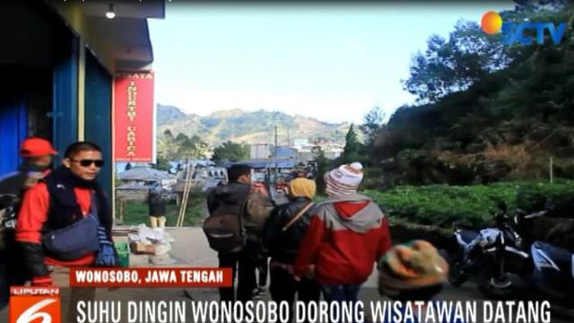 Semakin dingin suhu di wisata Sikunir Wonosobo, maka semakin ramai pengunjung ingin merasakan suhu dingin yang sempat mencapai 0 derajat celsius ini.