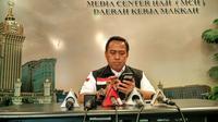 Kepala Daker Mekah Arsyad Hidayat menggelar jumpa pers terkait jemaah haji Indonesia yang menjadi korban wafat tragedi Mina. (Liputan6.com/Wawan Isab Rubiyanto)