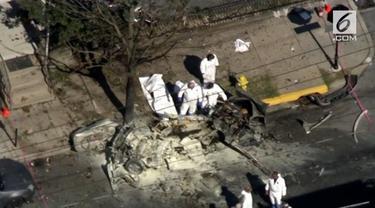 Sebuah mobil meledak di jalan di pusat kota, Allentown, Pennsylvania, AS.