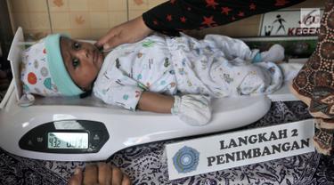 Bayi ditimbang saat menjalani pemeriksaan rutin di Posyandu Ria Balita, Cipinang, Jakarta, Selasa (16/7/2019). Presiden Joko Widodo berencana memperkuat kebijakan sumber daya manusia (SDM). (merdeka.com/Iqbal Nugroho)