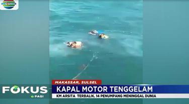 Kapal Motor Arsita yang mengangkut 35 orang pada Rabu siang, tenggelam di perairan Selat Makassar, Sulawesi Selatan.