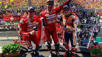 Pembalap Repsol Honda, Marc Marquez, masih kukuh di puncak klaemen sementara MotoGP 2019 setelah meraih podium kedua di Italia. (Twitter/MotoGP)