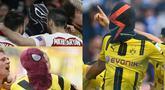 Penyerang Arsenal Aubameyang menarik perhatian dunia sepak bola. Hal tersebut terjadi tak hanya dari keganasan Auba dalam mencetak gol namun dari cara selebrasi pemain binaan AC Milan tersebut mengenakan topeng karakter Marvel. (Kolase Foto AFP)