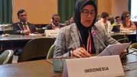Dirjen Pembinaan Hubungan Industrial dan Jaminan Sosial Tenaga Kerja Haiyani Rumondang mewakili Menteri Ketenagakerjaan M. Hanif Dhakiri berbicara di forum ILO.