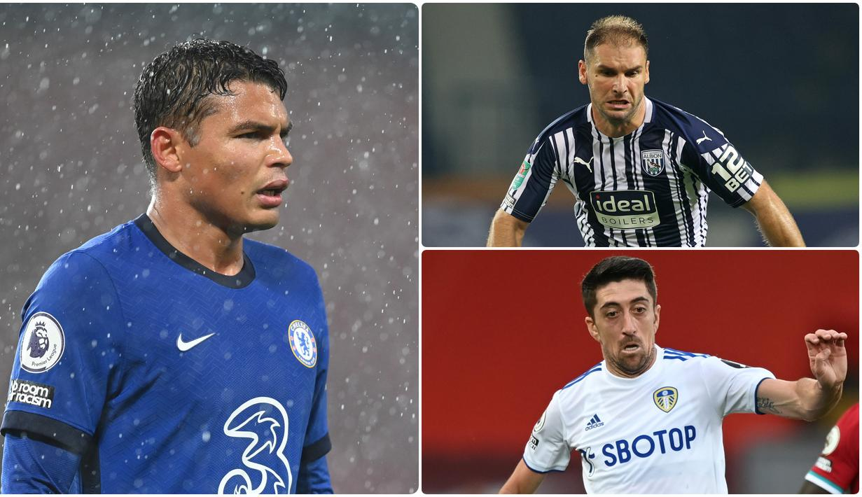 Thiago Silva menjadi menjadi salah satu pemain tertua di Liga Inggris pada musim 2020/2021. Selain Silva ternyata ada beberapa pemain tua lainnya yang tercatat bermain di Liga Inggris musim ini. Berikut Thhiago Silva dan 5 pemain tertua di Liga Inggris musim ini. (kolase foto AFP)