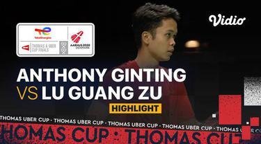 Berita Video, Hasil Pertandigan Piala Thomas 2020 antara Anthony Sinisuka Ginting Vs Lu Guang Zu pada Minggu (17/10/2021)